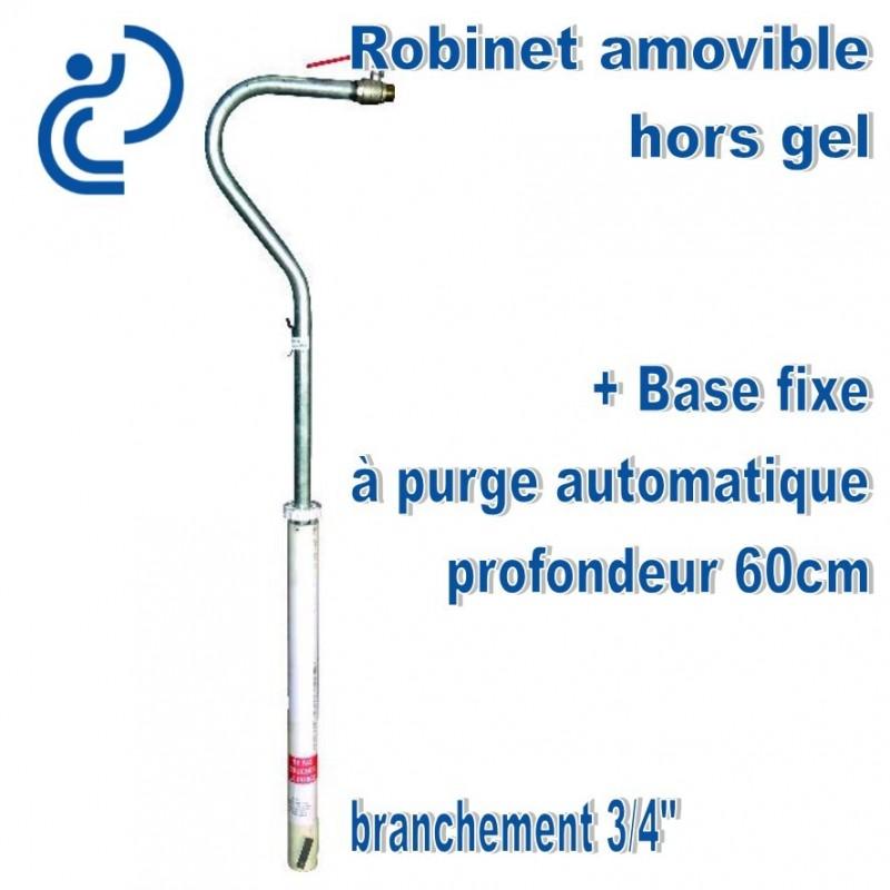 Robinet exterieur hors gel amovible avec base 60cm de profondeur - Robinet antigel exterieur ...