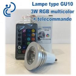 Lampe GU10 3W RGB Multicouleur + Télécommande