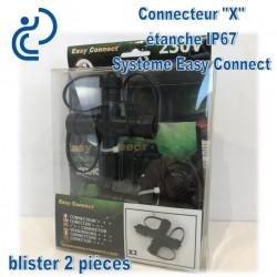 """Connecteur Etanche """"X"""" IP67 système Easy Connect x2"""